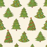 Seamless festive pattern with hand-drawn Christmas trees. Firs. Endless traditional texture for Christmas design, fabrics, royalty free illustration