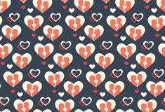 Seamless Festive Pattern with Love Couple and Hearts Stock Images