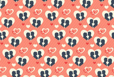 Seamless Festive Pattern with Love Couple and Hearts Royalty Free Stock Images