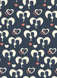 Seamless Festive Pattern with Love Couple and Hearts Royalty Free Stock Photography