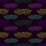 Seamless festive pattern with masks, doodle style. vector illustration