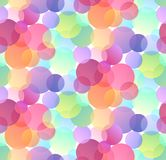 Seamless festive pattern with multicolored confetti on white background. Gradient bokeh. Texture for wallpaper, fabrics, covers and your creativity stock illustration