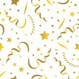 Seamless festive pattern, stars and confetti. Vector seamless festive pattern, stars and confetti, golden color Royalty Free Stock Photo