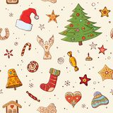 Seamless festive pattern with traditional Christmas symbols and decoration. Endless traditional texture for Christmas design, stock illustration
