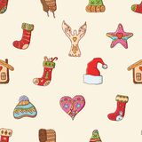 Seamless festive pattern with traditional Christmas symbols and decoration. Endless traditional texture for Christmas design, vector illustration