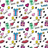 Seamless festive pattern Valentine`s Day. With love inscription and hearts on a white background Stock Images