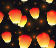 Seamless festive texture sky lanterns and sparks. Stock Images
