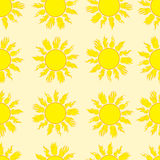 Seamless fiery sun. Seamless texture with the yellow sun with beams Stock Images