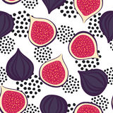 Seamless figs pattern with decorative dots on white background. Summer fruit vector illustration. Design for wallpaper, fabric, decor, textile Stock Photos
