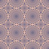 Seamless fine pink lace patterns in vintage style. Circle shapes on purple background. Royalty Free Stock Photography