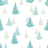 Seamless fir tree pattern. Vector forest winter Stock Photos