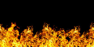 Seamless fire  on a black background Stock Photo