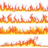 Seamless fire flame. Fires flaming pattern, flammable line blaze hot temperature, gas blazing wallpaper cartoon vector royalty free illustration