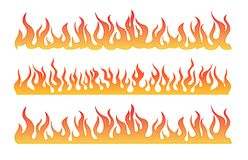 Seamless Fire Flame. Illustration of seamless burning fire flames. isolated in white background Stock Photos