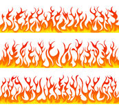 Seamless fire flames line vector set. On white background Royalty Free Stock Image