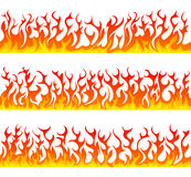 Seamless fire flames line vector set. On white background Stock Photography