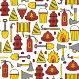 Seamless firefighter background. Seamless hand drawn backrgound on firefightering theme Royalty Free Stock Image