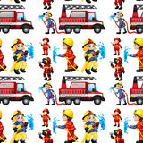 Seamless firefighters. Illustration of a seamless fire truck and firemen Stock Image