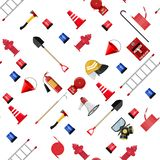 Seamless firefighting set pattern. Fire protection equipment. Shovel, extinguisher, hook, hose, helmet, hydrant, axe and ladder. Vector illustration in flat royalty free illustration
