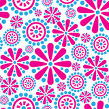 Seamless firework flowers pattern in 1960s style Royalty Free Stock Photography