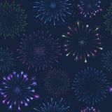 Seamless firework pattern, salute on dark background, vector celebratory gunfire. Seamless fireworks pattern, salute on dark background, vector celebratory Royalty Free Stock Image
