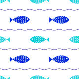 Seamless fish background. Seamless nautical background with two colored fish and waves Stock Image