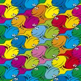 Seamless Fish Background. Tessellated Comic Dinosaur Character Seamless Pattern Royalty Free Stock Photos