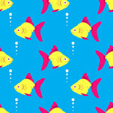 Seamless fish blue pattern. Vector background Royalty Free Stock Image