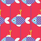 Seamless Fish and Fishing Pole Pattern. Vector Red Background Stock Photo