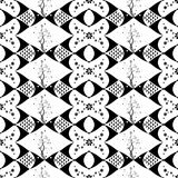 Seamless Fish and Floral Pattern Stock Photo