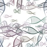 Seamless fish illustrations background abstract, hand drawn. Art, line, shape & vector. Seamless fish illustrations background abstract, hand drawn. Cartoon Royalty Free Stock Photo