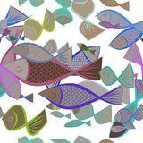 Seamless fish illustrations background abstract, hand drawn. Backdrop, vector, cartoon & line. Seamless fish illustrations background abstract, hand drawn Stock Image