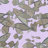 Seamless fish illustrations background abstract, hand drawn. Backdrop, wild, creative & decoration. Seamless fish illustrations background abstract, hand drawn Royalty Free Stock Photo