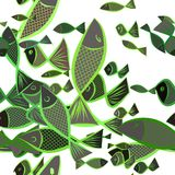 Seamless fish illustrations background abstract, hand drawn. Concept, template, water & pattern. Seamless fish illustrations background abstract, hand drawn Royalty Free Stock Photo