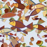 Seamless fish illustrations background abstract, hand drawn. Pattern, repeat, template & sketch. Seamless fish illustrations background abstract, hand drawn Royalty Free Stock Photos