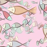 Seamless fish illustrations background abstract, hand drawn. Decoration, underwater, wild & surface. Seamless fish illustrations background abstract, hand drawn Stock Image