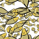 Seamless fish illustrations background abstract, hand drawn. Repeat, template, drawing & canvas. Seamless fish illustrations background abstract, hand drawn Stock Photo