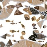 Seamless fish illustrations background abstract, hand drawn. Texture, set, wild & surface. Seamless fish illustrations background abstract, hand drawn. Cartoon Royalty Free Stock Photography