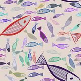 Seamless fish illustrations background abstract, hand drawn. Vector, art, repeat & concept. Seamless fish illustrations background abstract, hand drawn. Cartoon Royalty Free Stock Images