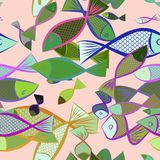 Seamless fish illustrations background abstract, hand drawn. Wild, style, repeat & drawing. Seamless fish illustrations background abstract, hand drawn. Cartoon Stock Photo