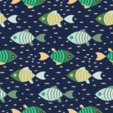 Seamless fish marine pattern dark blue and green repeat background. Textile sea life print tile dotted pattern vector Royalty Free Stock Photos