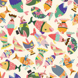 Seamless fish pattern Royalty Free Stock Images