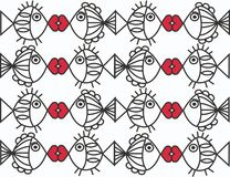 Seamless fish pattern. In black white and red colours Stock Photography