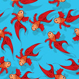 Seamless fish pattern. Happy red fish pattern, seamless background Royalty Free Stock Photography