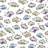 Seamless fish pattern Stock Images
