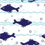 Seamless fish pattern Stock Photo