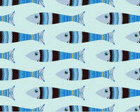 Seamless fish pattern, doodle Stock Images