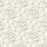 Seamless fish pattern tile background geometric Royalty Free Stock Images
