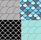Seamless Fish Scale Pattern Set Vector Stock Photo