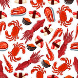 Seamless fish, sushi and crustaceans pattern Royalty Free Stock Images